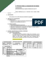Especificacion de Bienes de Indumentaria Residuos Solidos y Alcantarillado Urgente Mdpn 2019