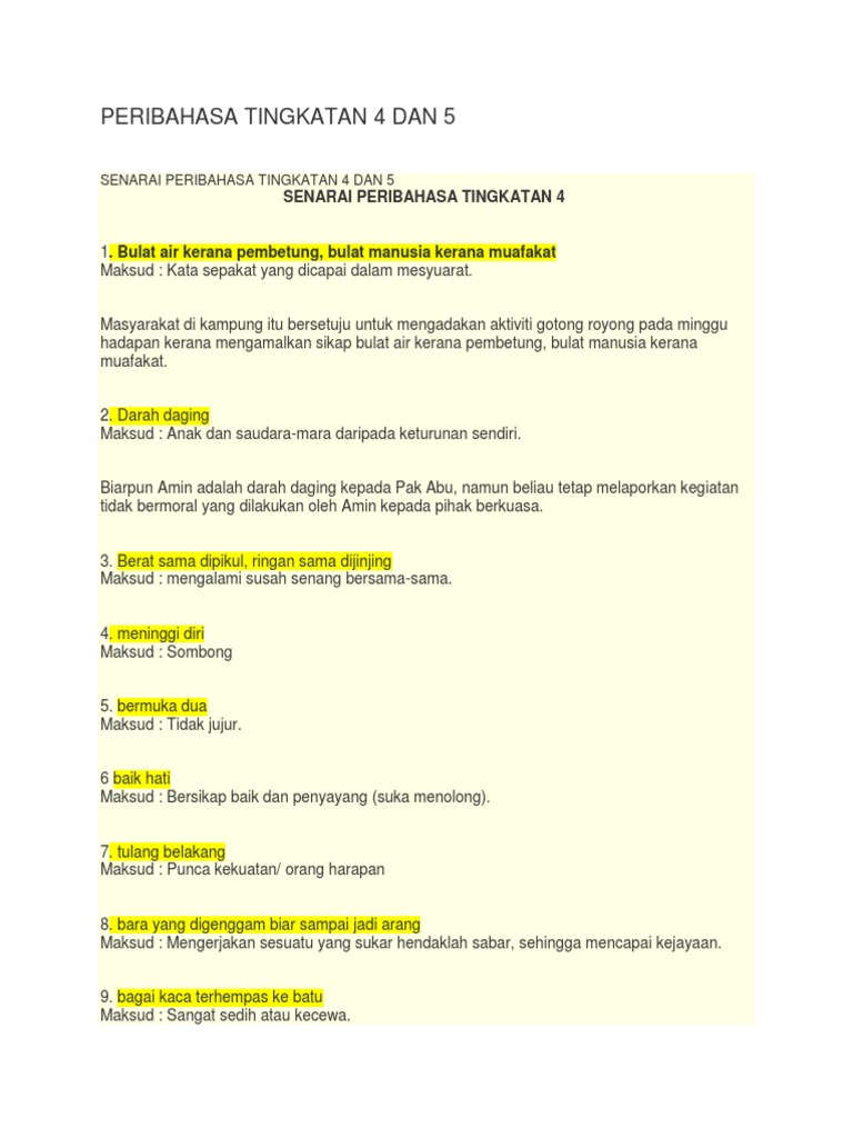 Peribahasa Tingkatan 4 Dan 5 Docx