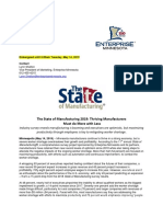 2019 Minnesota State of Manufacturing Statewide News Release