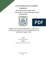 Espinoza, Jhayr,  4to ciclo, 2018, Objetivos de la Gestion administrativa y la calidad de enseñanza universitaria de la Universidad Nacional de San Martin-Tarapoto..docx