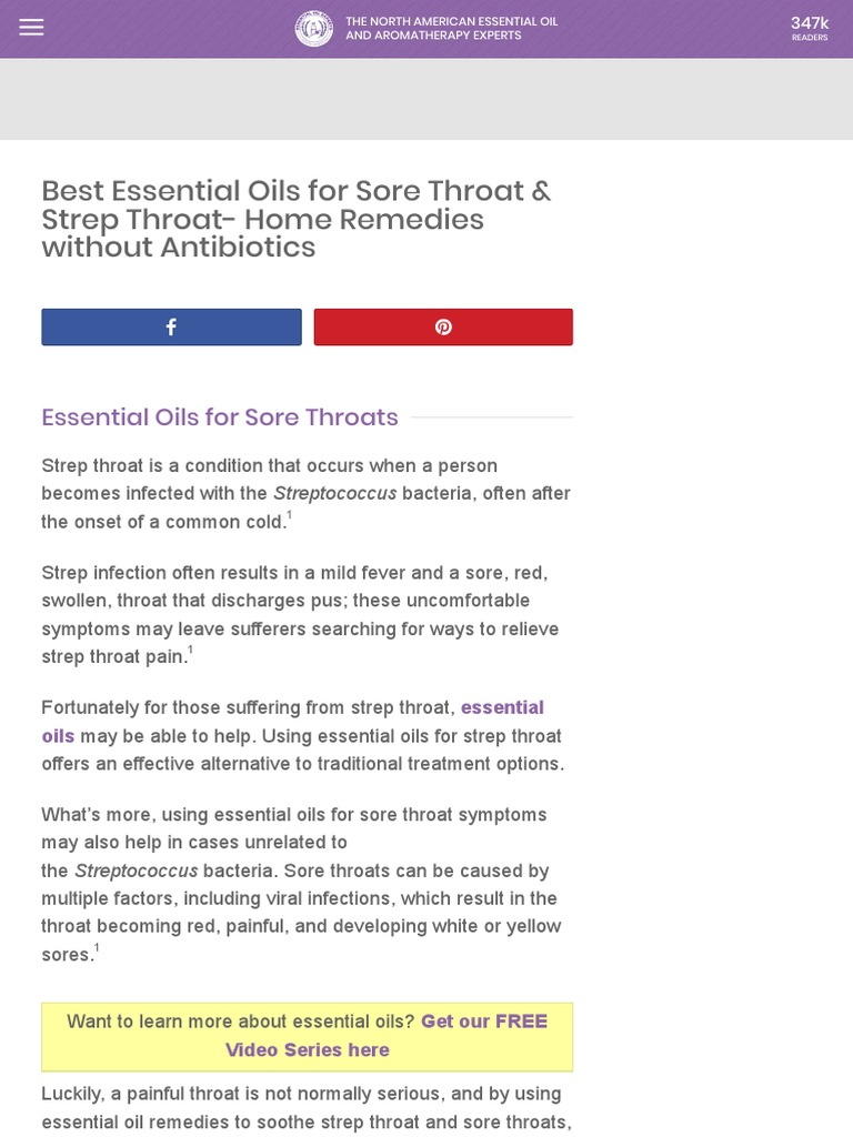 Best Essential Oils For Strep Throat Sore Throat Pdf Essential Oil Antimicrobial