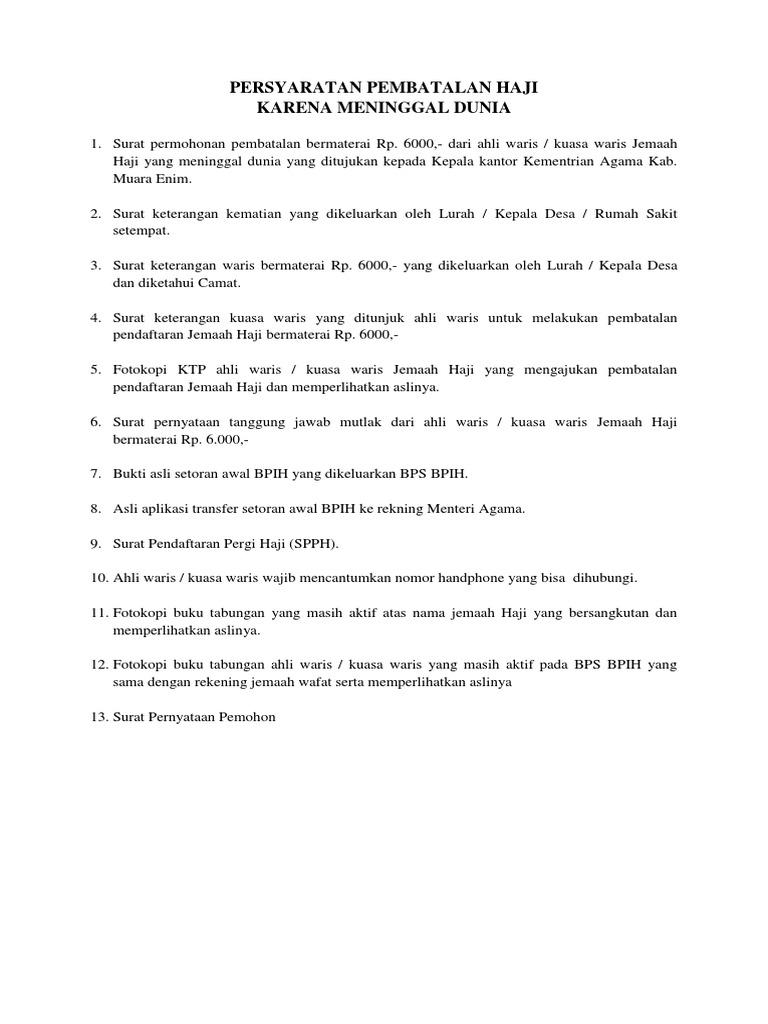 Persyaratan Pembatalan Haji Docx