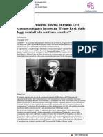 """Nel centenario della nascita, a Urbino si apre la mostra """"Primo Levi"""