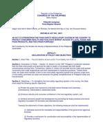 Regulation Act No. 10611