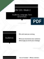 Week 2 - Audience, Language, Tone & Summary notes