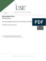 Being Singular Plural by Michael Fagenblat