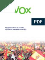Programa de Vox para las elecciones municipales 2019