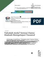 Tahukah Anda Semua Ulama Madzab Mempelajari Tasawuf