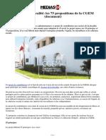 Assises de La Fiscalité Les 75 Propositions de La CGEM (Document)