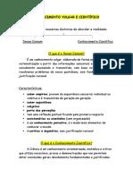 CONHECIMENTO VULGAR E CIENTÍFICO - RESUMOS.docx
