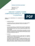 Análisis y Ejemplo Sobre Competencia Perfecta, Monopolio y Oligopolio_ojeda Bustamante Carlos_gestion Empresarial II g3