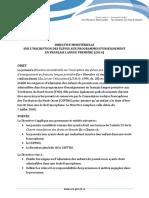 Directive ministérielle sur l'inscription des élèves aux programmes d'enseignement en français langue première