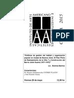 """Políticas de Gestión Del Hábitat y Organización Popular en Ciudad de Buenos Aires. El Plan Piloto de Realojamiento de La Villa 7 y Construcción Del Barrio Justo Suarez (1971-1975)"""""""
