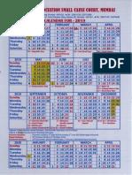 Small Causes COurt Calendar 2019