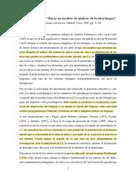 """Juana M. Liceras, """"Hacia un modelo de análisis de la interlengua"""""""