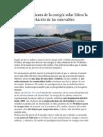 El Abaratamiento de La Energía Solar Lidera La Revolución de Las Renovables