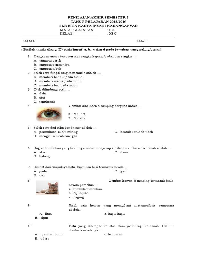 Soal Uas Bahasa Jawa Kelas 1 Sd Semester 2 Dan Kunci Jawaban