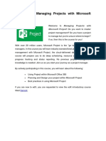0.1 - Welcome to Managing Projects With Microsoft Project