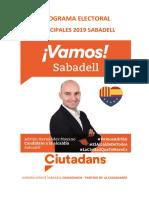 Programa Electoral de Ciutadans a Sabadell 2019