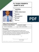 Kartu Pendaftaran SNMPTN 2019 4190166387