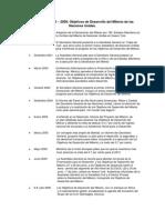 Cronología 2000-2008 de los Objetivos de Desarrollo del Milenio de las Naciones Unidas