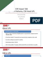 CSR Box Talk- Rishi Pathania (UPL)