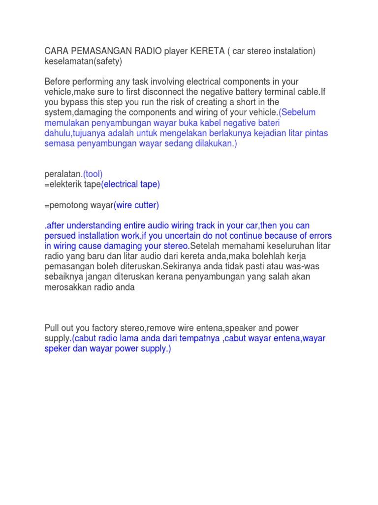 Cara Pemasangan Radio Player Kereta Docx Electrical Wiring Wire