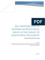 WILL PROPOSED POST 16 REFORMS SACRIFICE SOCIAL EQUITY IN THE PURSUIT OF EDUCATIONAL EXCELLENCE.docx