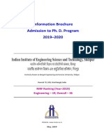 Brochure Ph. D. Admission IIESTS 2019 20 July Cycle