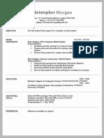 CV Resume Format 1