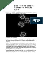 Pesquisa Gera Todos Os Tipos de Células de Embrião a Partir de Células de Pele