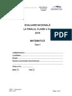Evaluarea Nationala clasa a IV-a 2019 Matematica Test 1