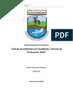 Cálculo de población y viviendas, comuna de Puchuncaví, 2018.