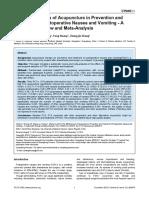 efectividad de la acupuntura en la prevención de vómito post operatorio