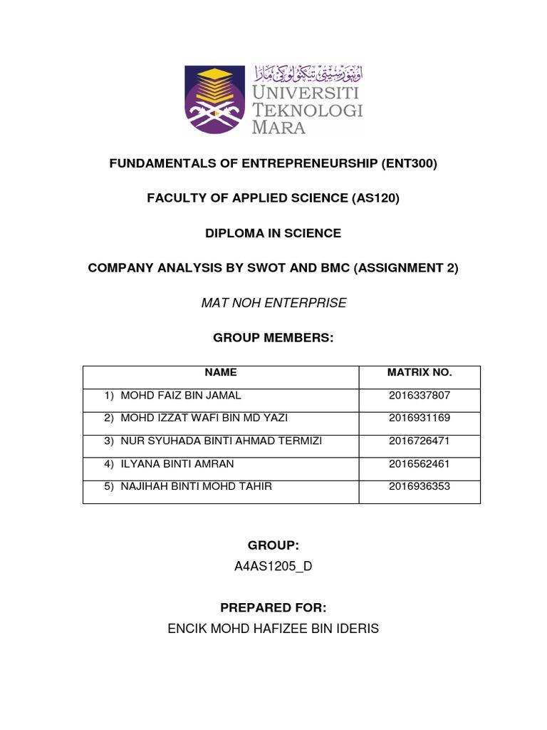 Ent Assignment 2 Syue 2 Docx Swot Analysis Entrepreneurship