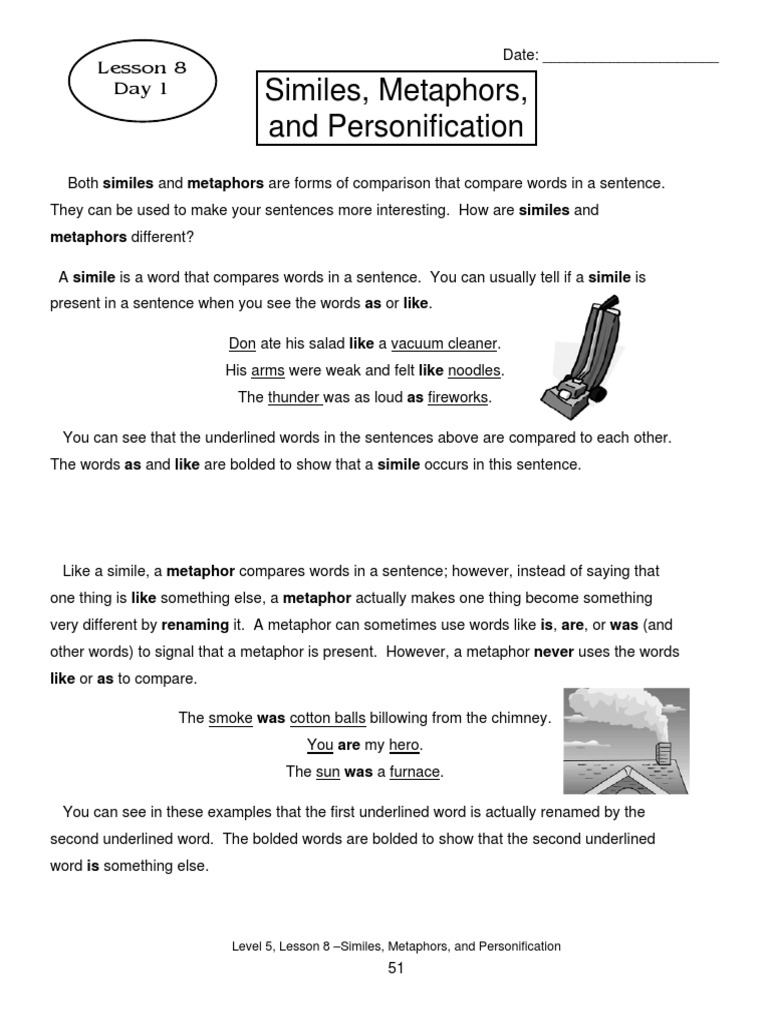 Worksheets Simile Metaphor and PersonificationDL.pdf ...