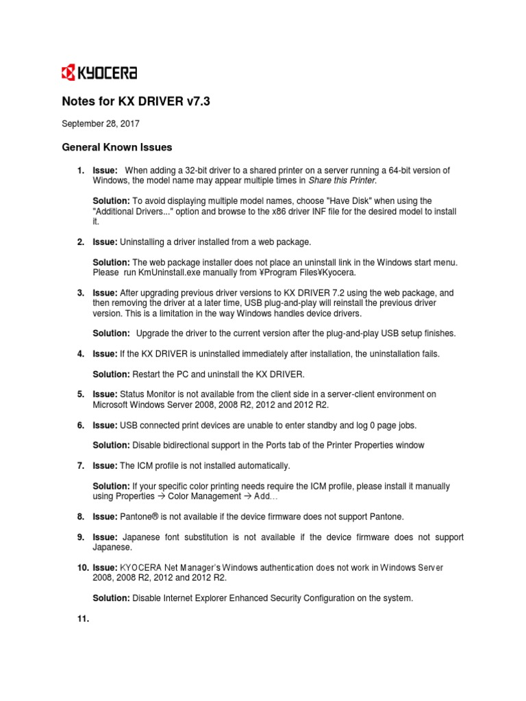 KX DRIVER v73 ReadMe pdf | Microsoft Windows | Remote