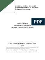 PREGUNTAS SOBRE LA LECTURA DE LAS CIEN PREGUNTAS MÁS  IMPORTANTES PARA EL FUTURO DE LA AGRICULTURA GLOBAL.docx