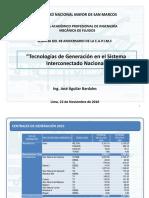 Tecnologías de Generación en el Sistema  Interconectado Nacional del Perú