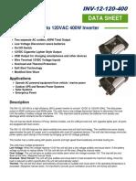 INV-12-120-400 12V to 120VAC Inverter Spec Sheet Rev 1