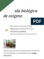 Demanda Biológica de Oxígeno - Wikipedia, La Enciclopedia Libre