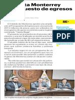 15-05-19 Aumenta Monterrey presupuesto de egresos