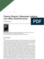 Compte Rendu Désastre Urbain-thierry Paquot