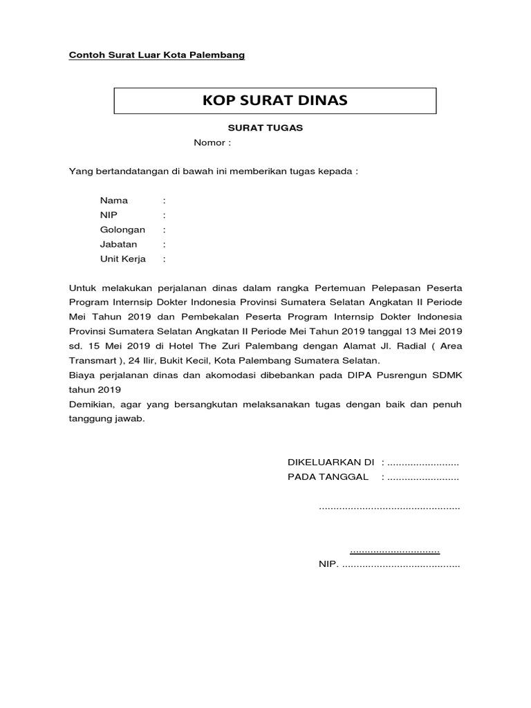 Surat Tugas Luar Kota Palembang Docx