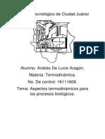 Aspectos termodinámicos para procesos biológicos.