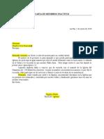 Carta de membrecia inactiva