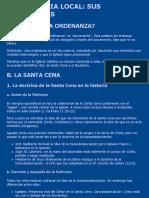 Teología sistemática - Ecclesiología -  SANTA CENA