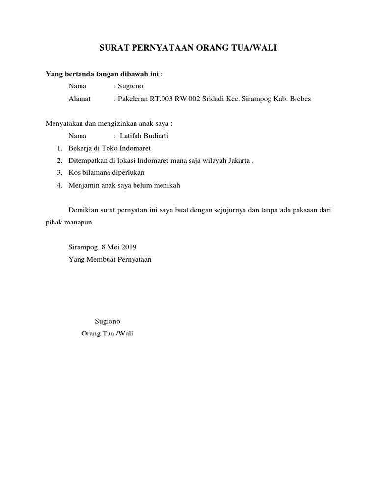Surat Pernyataan Orang Tuadocx