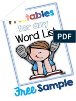 Printables for Any Word List SAMPLE Fan FREEBIE Clever Classroom TpT