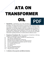 Data for oil used in transformer